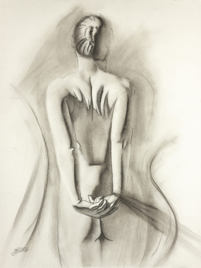 "</br><p align=""left""><strong><em>Ashamed</em></strong></br> 24 x 18""</br> Charcoal and pastel on charcoal paper</br> $300</br> <strong><a href=""https://checkout.square.site/buy/UAQ5I4743MERDSCZOE3YN2SY"">PURCHASE</a></strong></p><br>"
