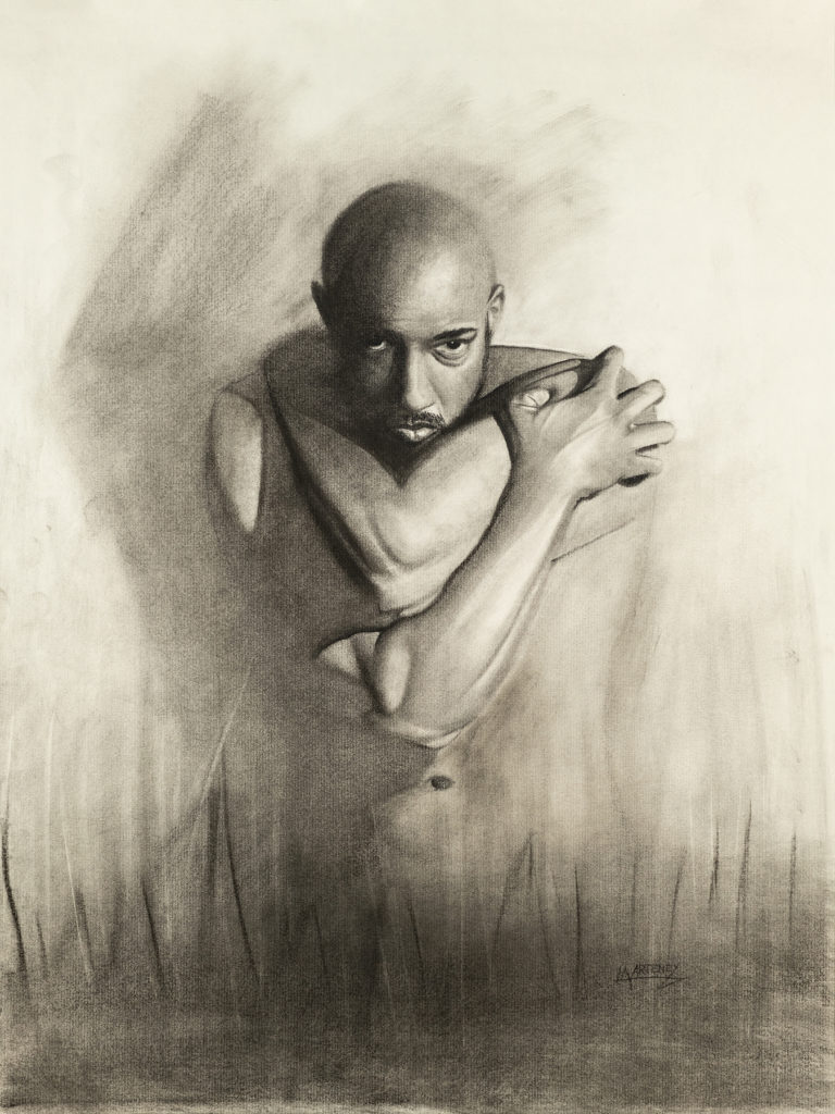 """</br><p align=""""left""""><strong><em>Determined</em></strong></br> 24 x 18""""</br> Charcoal and pastel on charcoal paper</br> $300</br> <strong><a href=""""https://checkout.square.site/buy/MDQPSJPVMXTY7OZB4YVLDFDP"""">PURCHASE</a></strong></p><br>"""