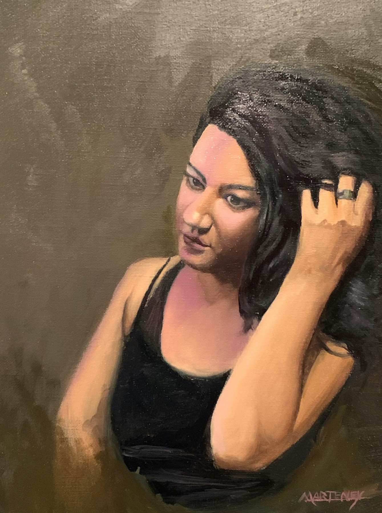 "</br><p align=""left""><strong><em>Female Portrait in Oil, February 2020</em></strong></br> 14 x 11""</br> Oil paint on canvas</br> $350</br> <strong><a href=""https://checkout.square.site/buy/G6ADPGIIMUTQJUZHYDEMM3OH"">PURCHASE</a></strong></p>"