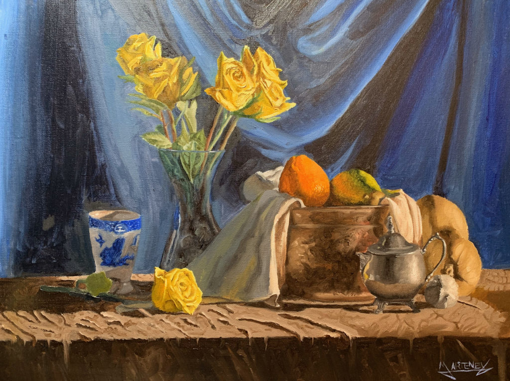 """</br><p align=""""left""""><strong><em>Fruit and Flowers</em></strong></br> 18 x 24""""</br> Oil paint on canvas</br> $400</br> <strong><a href=""""https://checkout.square.site/buy/TYYLC7BBPK3WOCHWUDNHJFTK"""">PURCHASE</a></strong></p><br>"""