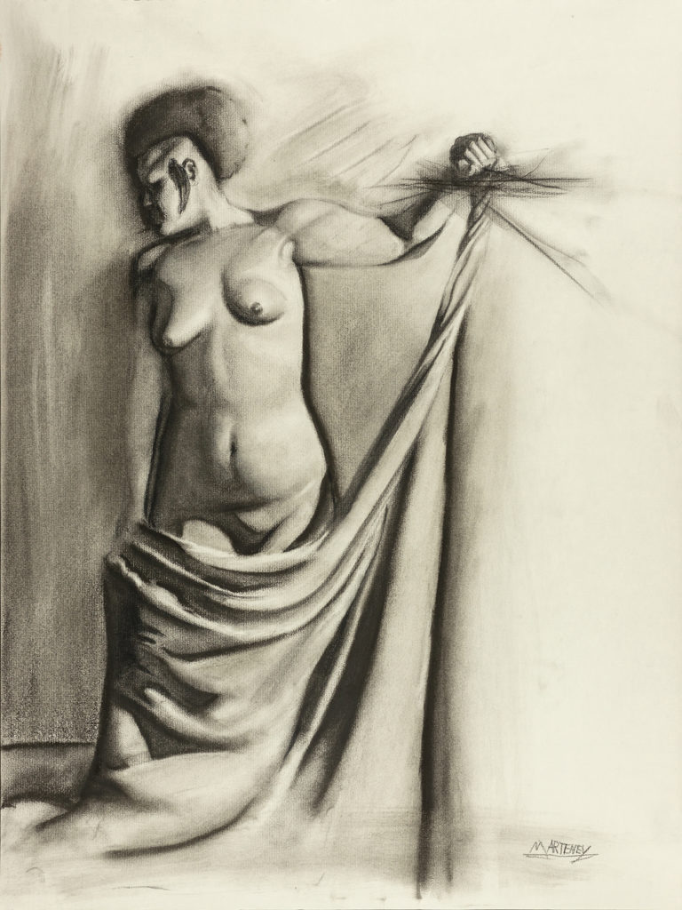 """</br><p align=""""left""""><strong><em>Indifference</em></strong></br> 24 x 18""""</br> Charcoal and pastel on charcoal paper</br> $300</br> <strong><a href=""""https://checkout.square.site/buy/RK3CHE2IK5QK2KWYPORDY7YZ"""">PURCHASE</a></strong></p><br>"""