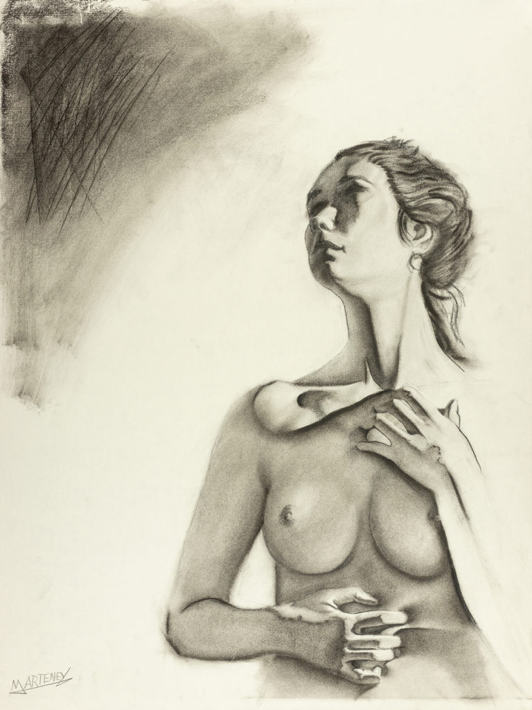 "</br><p align=""left""><strong><em>Lingering</em></strong></br> 24 x 18""</br> Charcoal and pastel on charcoal paper</br> $300</br> <strong><a href=""https://checkout.square.site/buy/BDRUCHTJQ2MJHPK3ZZ2A63CQ"">PURCHASE</a></strong></p><br>"