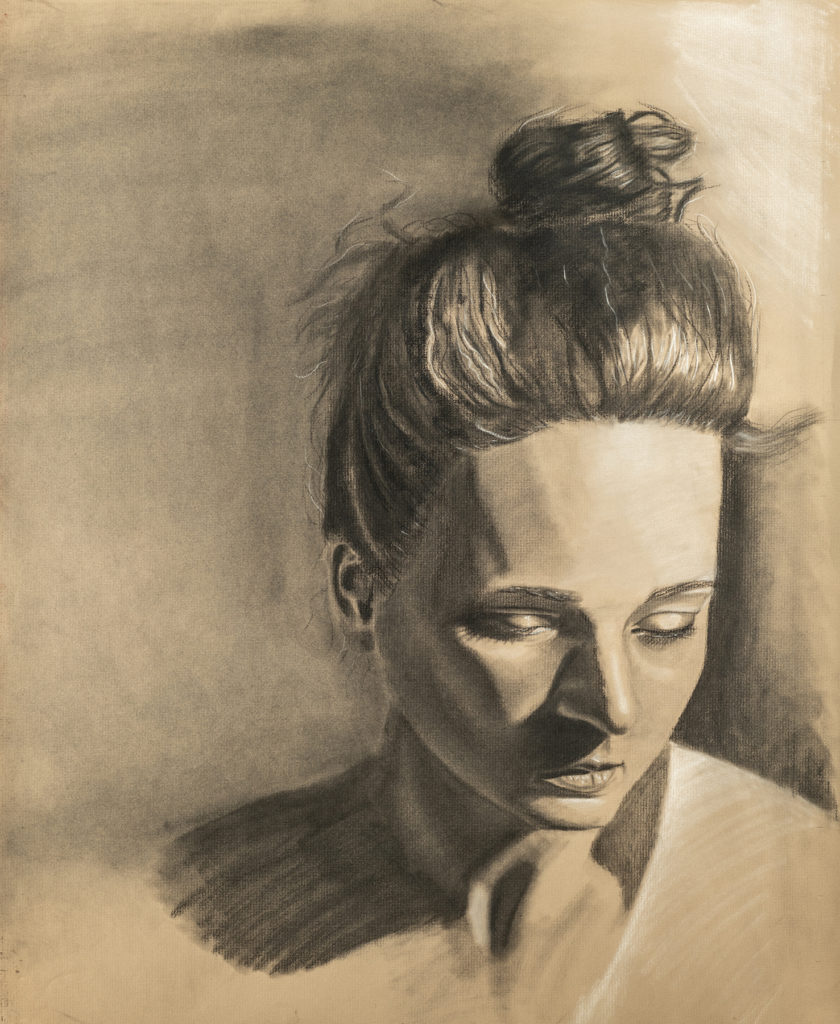 "</br><p align=""left""><strong><em>Female portrait in charcoal, July 2017</em></strong></br> 20 x 16""</br> Charcoal on toned paper</br> $350</br> <strong><a href=""https://checkout.square.site/buy/JZJV4KGRZSTJJNNBH4DMHACM"">PURCHASE</a></strong></p><br>"