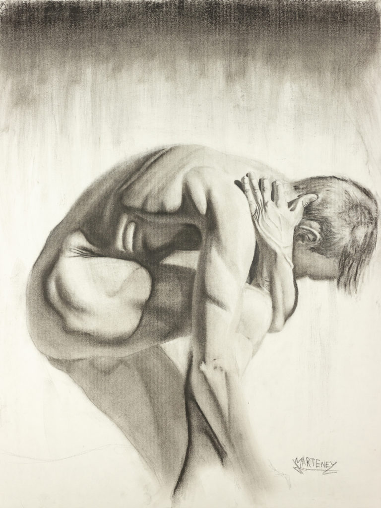 "</br><p align=""left""><strong><em>Recovering</em></strong></br> 24 x 18""</br> Charcoal and pastel on charcoal paper</br> $300</br> <strong><a href=""https://checkout.square.site/buy/2SLAH2IDBHGLLBME7HZFD5P5"">PURCHASE</a></strong></p><br>"