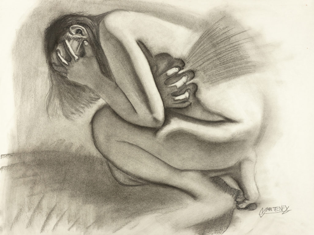 """</br><p align=""""left""""><strong><em>Ritual Misery</em></strong></br> 18 x 24""""</br> Charcoal and pastel on charcoal paper</br> $300</br> <strong><a href=""""https://checkout.square.site/buy/QEHKZSASRAM2RSJRDRNORFHK"""">PURCHASE</a></strong></p><br>"""