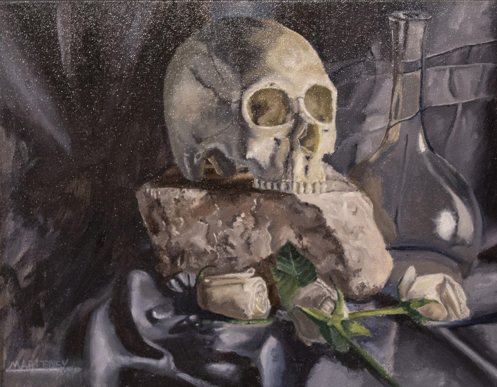 """</br><p align=""""left""""><strong><em>Skull and Flowers</em></strong></br> 14 x 18""""</br> Oil paint on canvas</br> $350</br> <strong><a href=""""https://checkout.square.site/buy/LT2CZI757EYNS6RY7FPIVZEG"""">PURCHASE</a></strong></p><br>"""