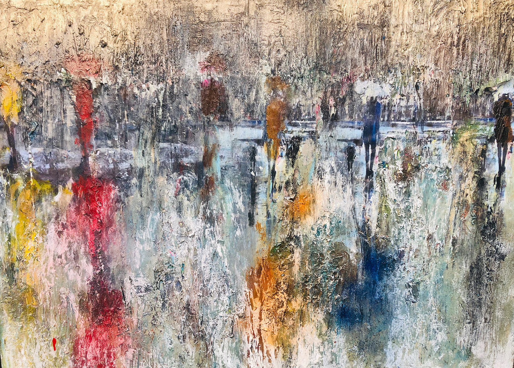 """</br><p align=""""left""""><strong><em>Stroll Through Central Park</em></strong></br>30 x 40""""</br>Mixed media</br>$575</br><strong>AVAILABLE AT ART OF RECOVERY AUCTION NOV. 6-13</strong></p><br>"""