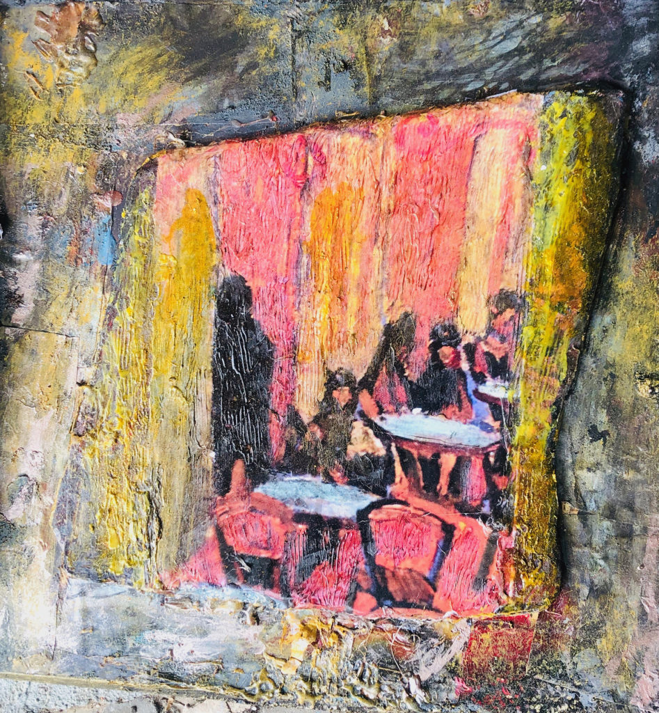 "</br><p align=""left""><strong><em>Cafe Time</em></strong></br>12 x 12""</br>Mixed media</br>$90</br><strong><a href=""https://checkout.square.site/buy/ABXRWSQPA76L5AUAQGRZRFNT"">PURCHASE</a></strong></p><br>"
