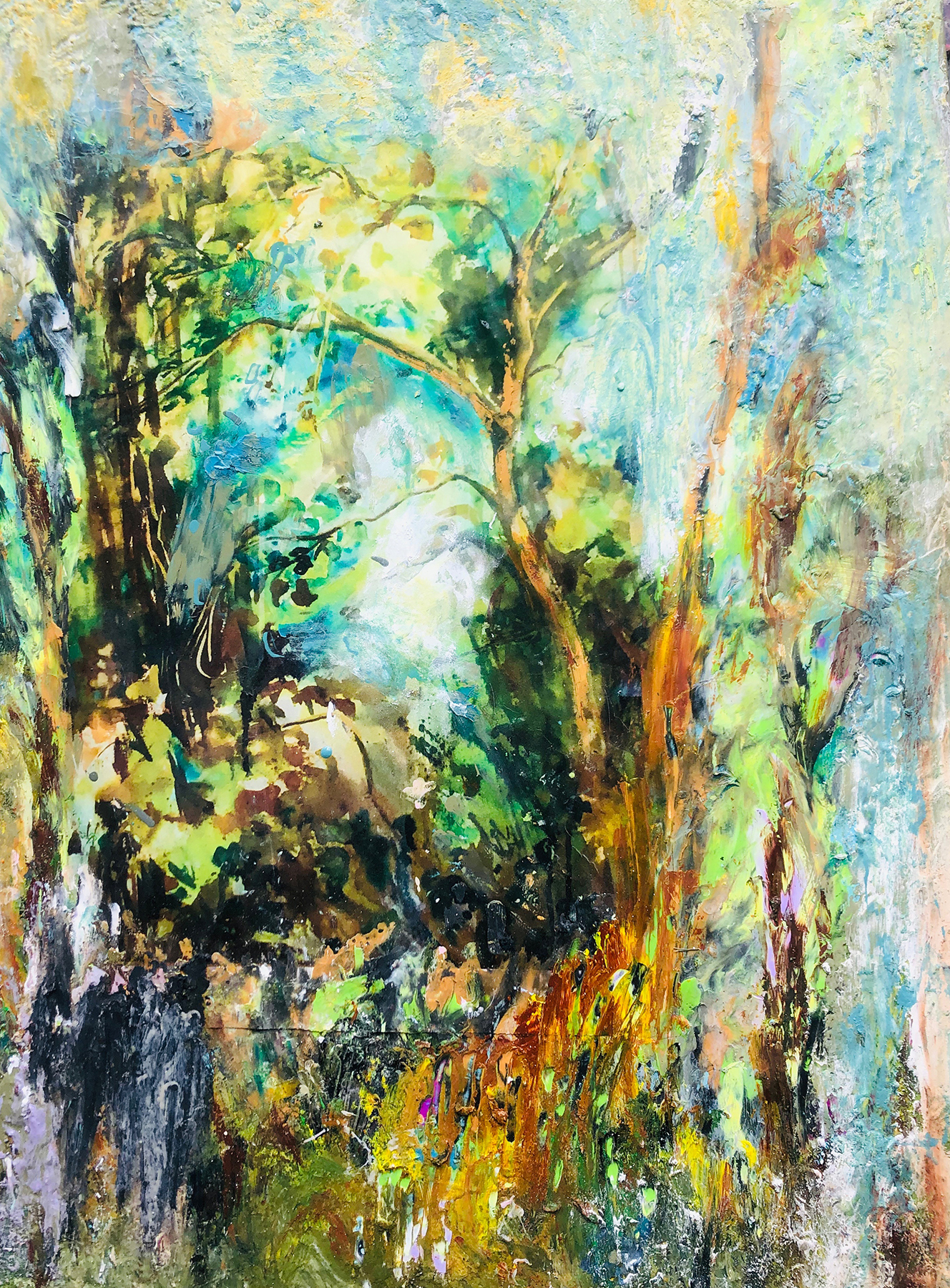 """</br><p align=""""left""""><strong><em>Lake Hope</em></strong></br>26 x 21""""</br>Mixed media</br>$325</br><strong><a href=""""https://checkout.square.site/buy/JCSHA5Q4EKBZIBAA5IIBKYDD"""">PURCHASE</a></strong></p><br>"""