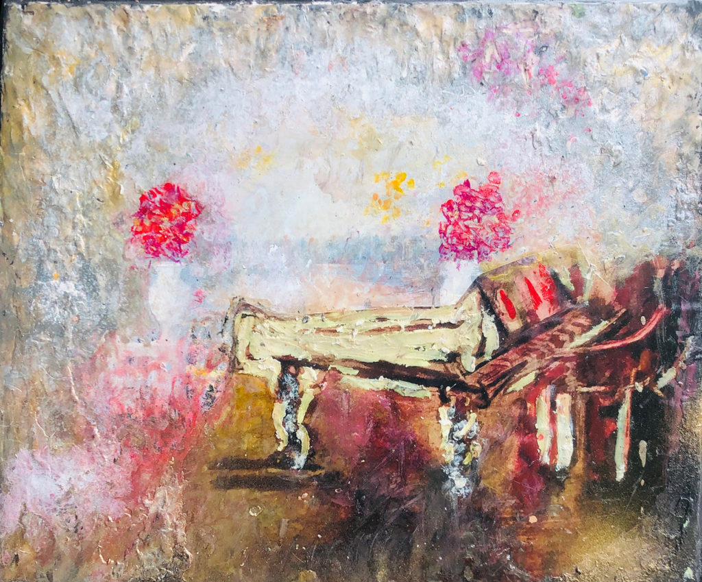 "</br><p align=""left""><strong><em>Music in the Air</em></strong></br>19 x 23""</br>Mixed media</br>$175</br><strong><a href=""https://checkout.square.site/buy/SEYNIVJH7JBTOI5SOO6D3FX6"">PURCHASE</a></strong></p><br>"