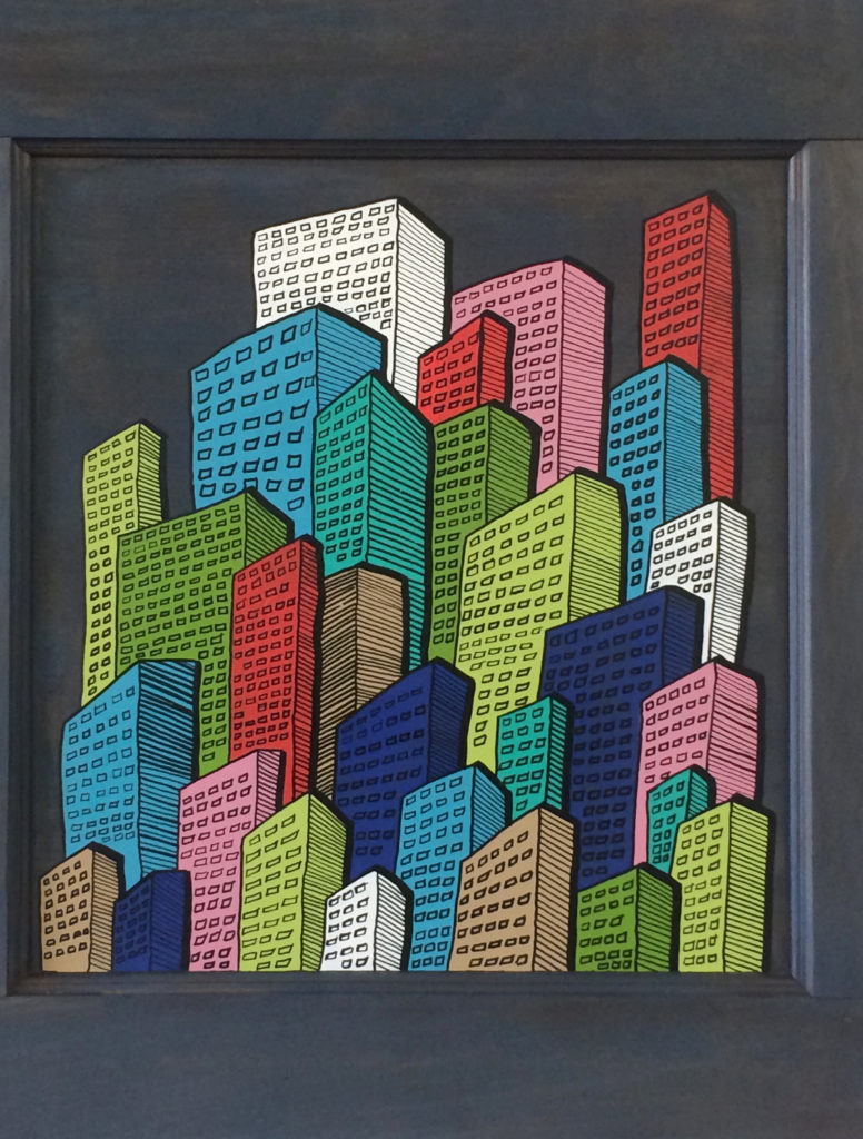 """</br><p align=""""left""""><strong><em>Downtown City</em></strong></br>30 x 25""""</br>Mixed media with found objects</br>$100</br><strong><a href=""""https://checkout.square.site/buy/PIBBAEF7S5UQ3BRBIWXB74SP"""">PURCHASE</a></strong></p><br>"""