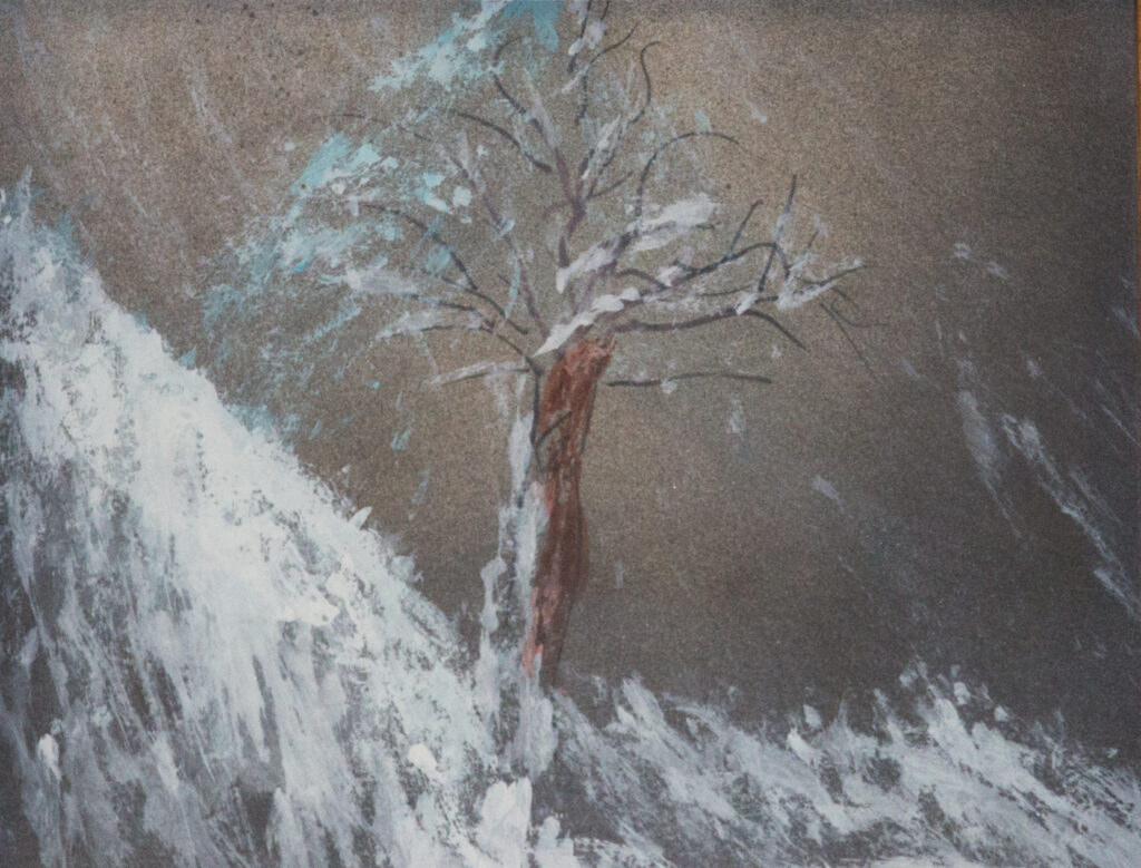 """<p align=""""left""""><strong><em>Tree in Snowstorm</em></strong></br>10.5 x 12""""</br>Acrylic on paper</br>$75</br><strong>SOLD</strong></p>"""