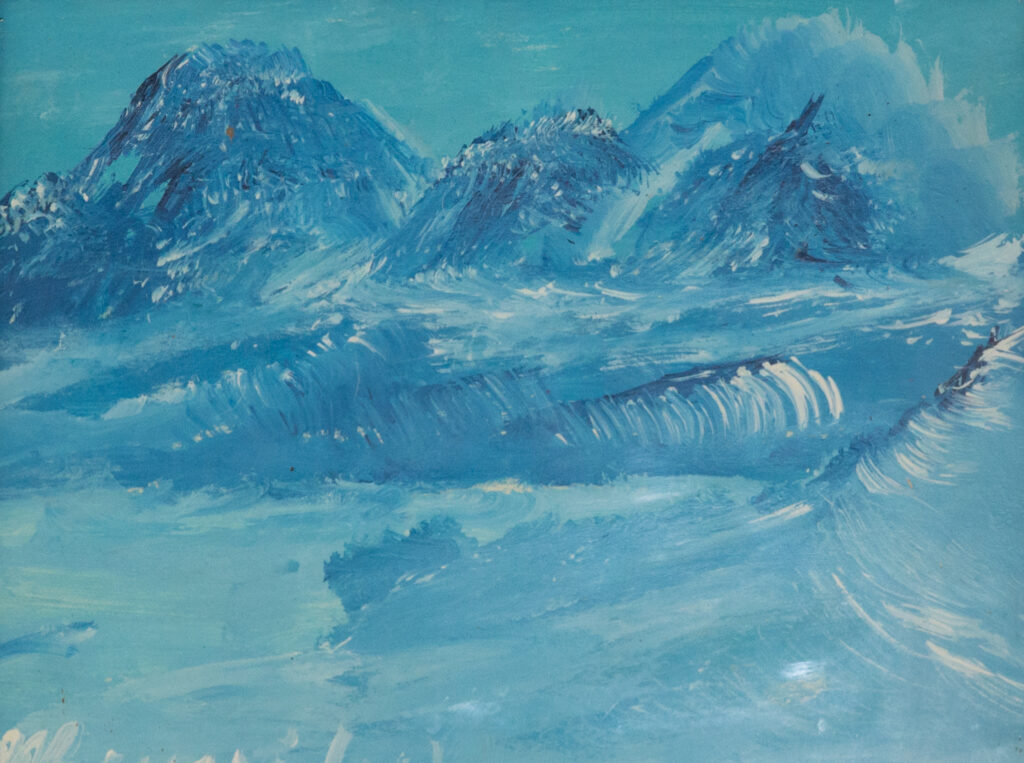 """<p align=""""left""""><strong><em>Glaciers</em></strong></br>9.5 x 12.5""""</br>Acrylic on paper</br>$75</br><strong><a href=""""https://checkout.square.site/buy/I3YWUHN6V5A4FR3PT5IWUOUY"""">PURCHASE</a></strong></p>"""