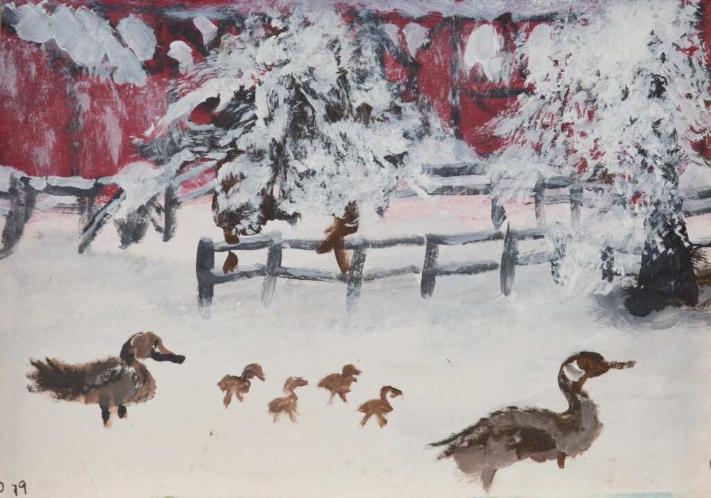 """<p align=""""left""""><strong><em>Goslings in the Snow</em></strong></br>8.5. x 11""""</br>Acrylic on paper</br>$50</br><strong><a href=""""https://checkout.square.site/buy/TSZXAQTQ6JQ3OQUM6ZX3PHJW"""">PURCHASE</a></strong></p>"""