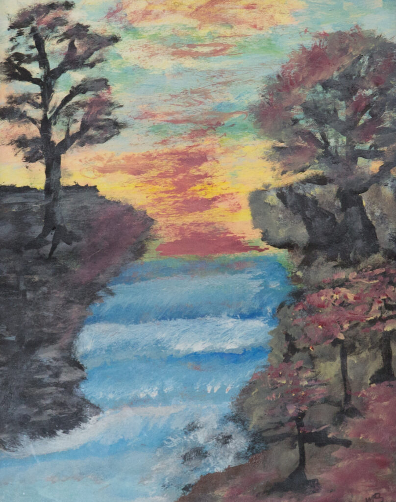 """<p align=""""left""""><strong><em>Waterfall 02</em></strong></br>13.5 x 10.5""""</br>Acrylic on paper</br>$125</br><strong><a href=""""https://checkout.square.site/buy/JSKQOGSMUVSGCYMA37CLJNME"""">PURCHASE</a></strong></p>"""