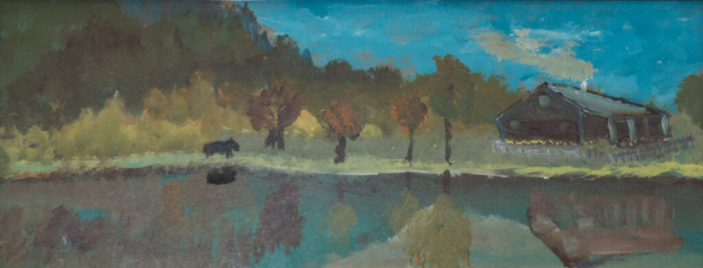 """<p align=""""left""""><strong><em>Lake Reflections</em></strong></br>9.5 x 12.5""""</br>Acrylic on paper</br>$100</br><strong>SOLD</strong></p>"""