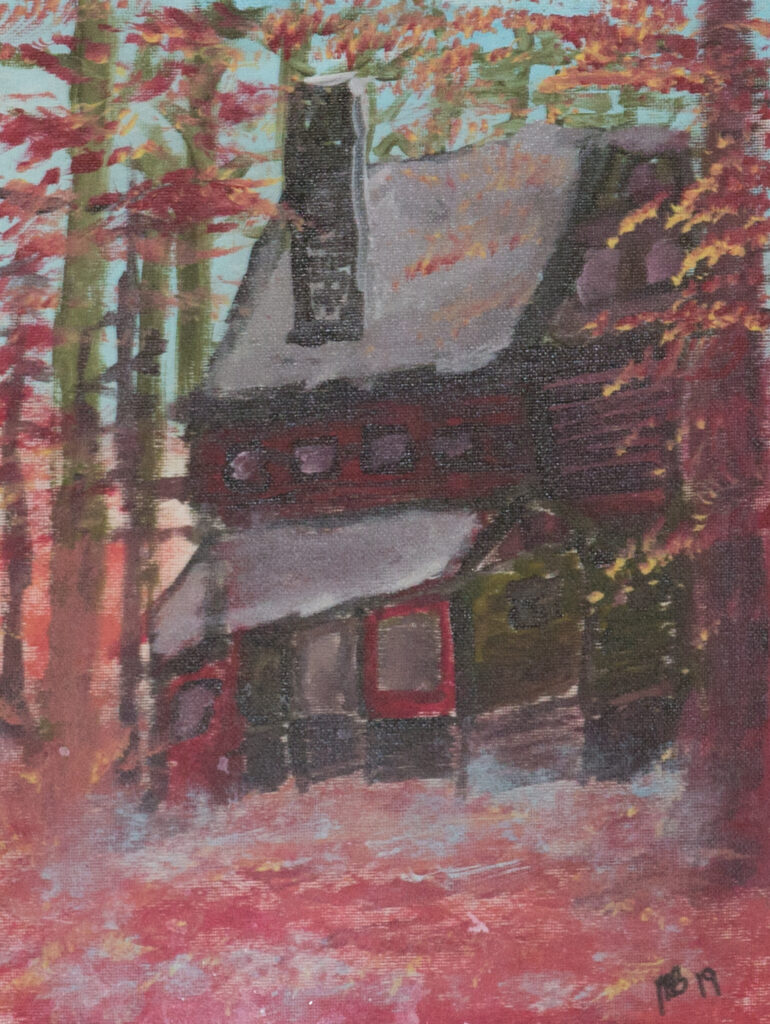 """<p align=""""left""""><strong><em>Cabin 02</em></strong></br>16 x 13""""</br>Acrylic on paper</br>$100</br><strong><a href=""""https://checkout.square.site/buy/CGTZ2GPYPBRETVFG7UOUTFLU"""">PURCHASE</a></strong></p>"""