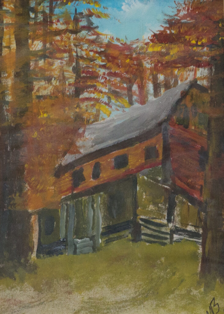 """<p align=""""left""""><strong><em>Cabin 01</em></strong></br>15 x 12""""</br>Acrylic on paper</br>$100</br><strong><a href=""""https://checkout.square.site/buy/PCZLHNR2B3NZFEGLBMFT7L5T"""">PURCHASE</a></strong></p>"""