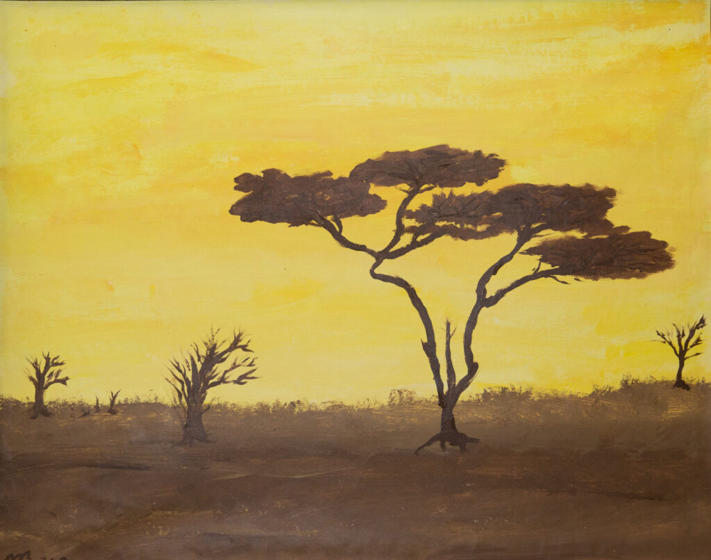"""<p align=""""left""""><strong><em>Serengeti Plains</em></strong></br>22 x 28""""</br>Acrylic on paper</br>$150</br><strong><a href=""""https://checkout.square.site/buy/GMLHQTERGSGO2M7UGTYMHJOO"""">PURCHASE</a></strong></p>"""