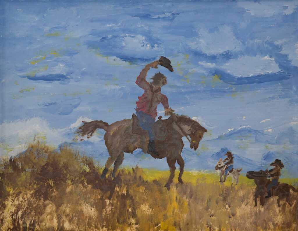 """<p align=""""left""""><strong><em>Wild West</em></strong></br>22 x 28""""</br>Acrylic on paper</br>$175</br><strong><a href=""""https://checkout.square.site/buy/X3R4VK4IA5B7TLKFVW2Y6MIN"""">PURCHASE</a></strong></p>"""