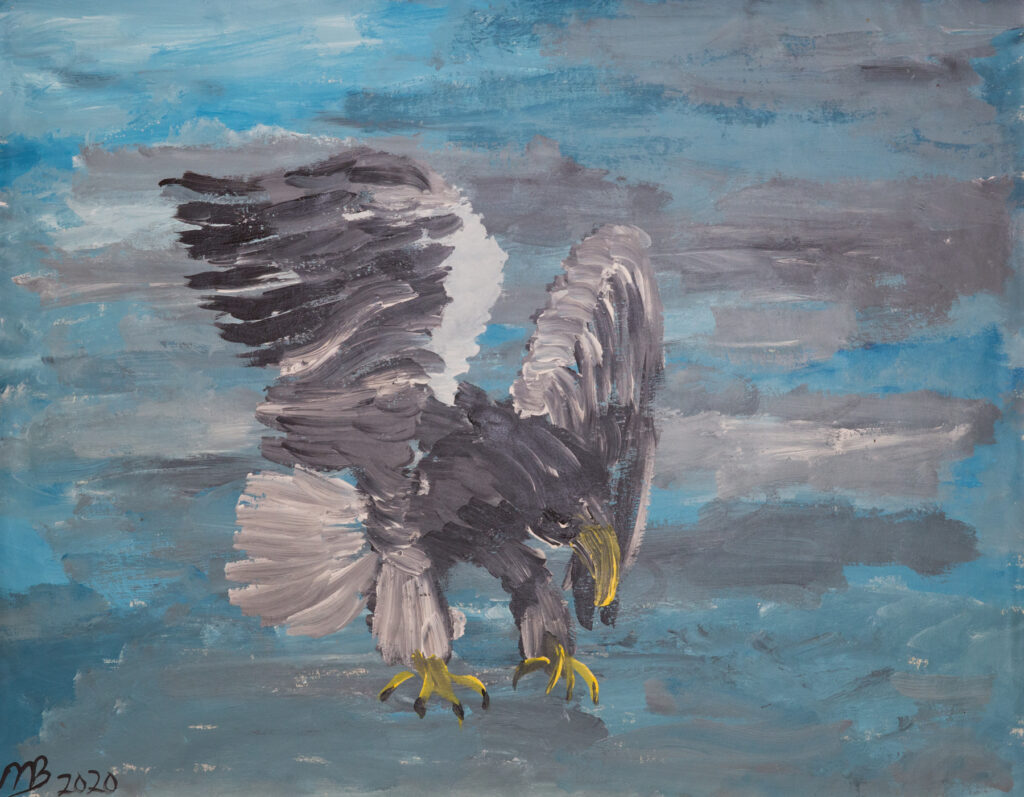 """<p align=""""left""""><strong><em>Sea Eagle</em></strong></br>22 x 28""""</br>Acrylic on paper</br>$150</br><strong><a href=""""https://checkout.square.site/buy/IXFJ47JHXIWXMDTKZ5MV5V2X"""">PURCHASE</a></strong></p>"""