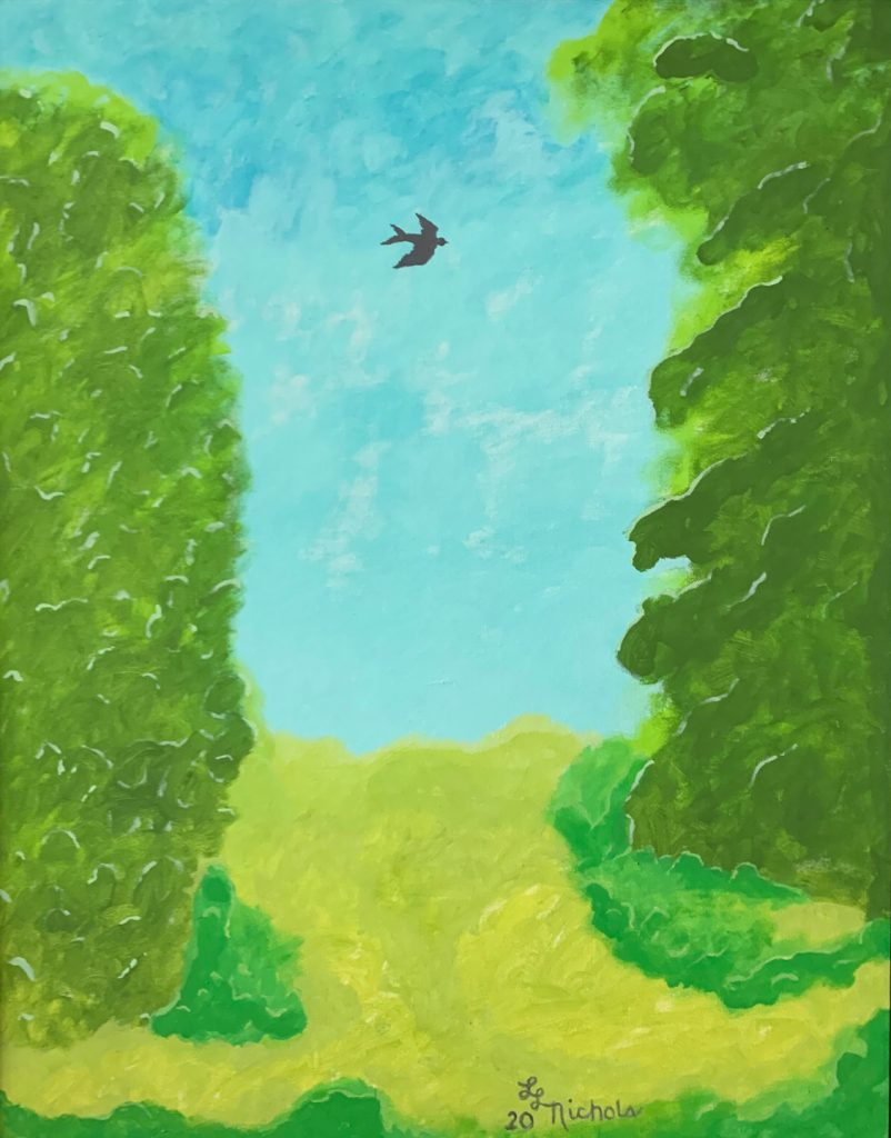 "<p align=""left""><strong><em>Flight</em></strong></br>30 x 24""</br>Acrylic</br>$300</br><strong><a href=""https://checkout.square.site/buy/J5F5LX62N2DZZ63KFDKJS6KM"">PURCHASE</a></strong></br>"