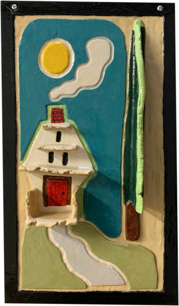 "<p align=""left""><strong><em>Chimney House</em></strong></br>11 x 16.5""</br>Ceramic</br>$100</br><strong><a href=""https://checkout.square.site/buy/V3SCFW46ESICGXCW63R6UIHM"">PURCHASE</a></strong></br>"