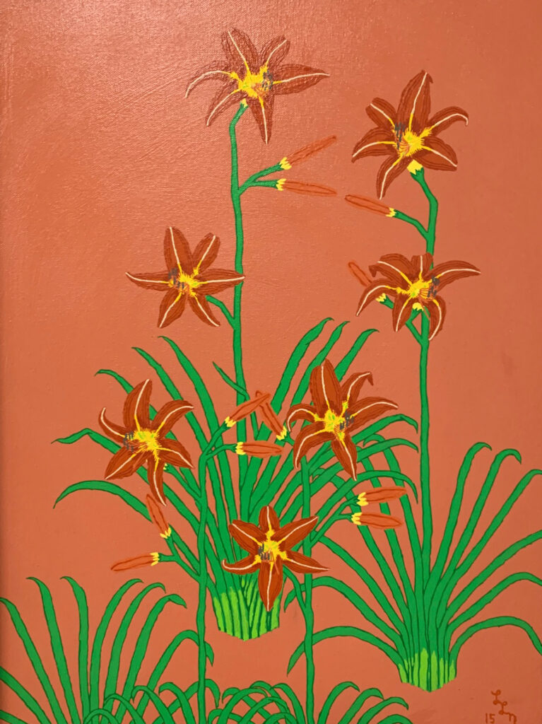 "<p align=""left""><strong><em>Orange Day Lilies</em></strong></br>24 x 18""</br>Acrylic</br>$250</br><strong><a href=""https://checkout.square.site/buy/PWPCRFEKXU2IT7NONWVL56JF"">PURCHASE</a></strong></br>"