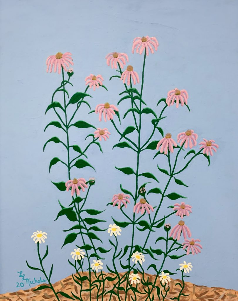 "<p align=""left""><strong><em>Cone Flowers</em></strong></br>30 x 24""</br>Acrylic</br>$300</br><strong><a href=""https://checkout.square.site/buy/36TES7ABOEQKMFKKKN2OCNXM"">PURCHASE</a></strong></br>"