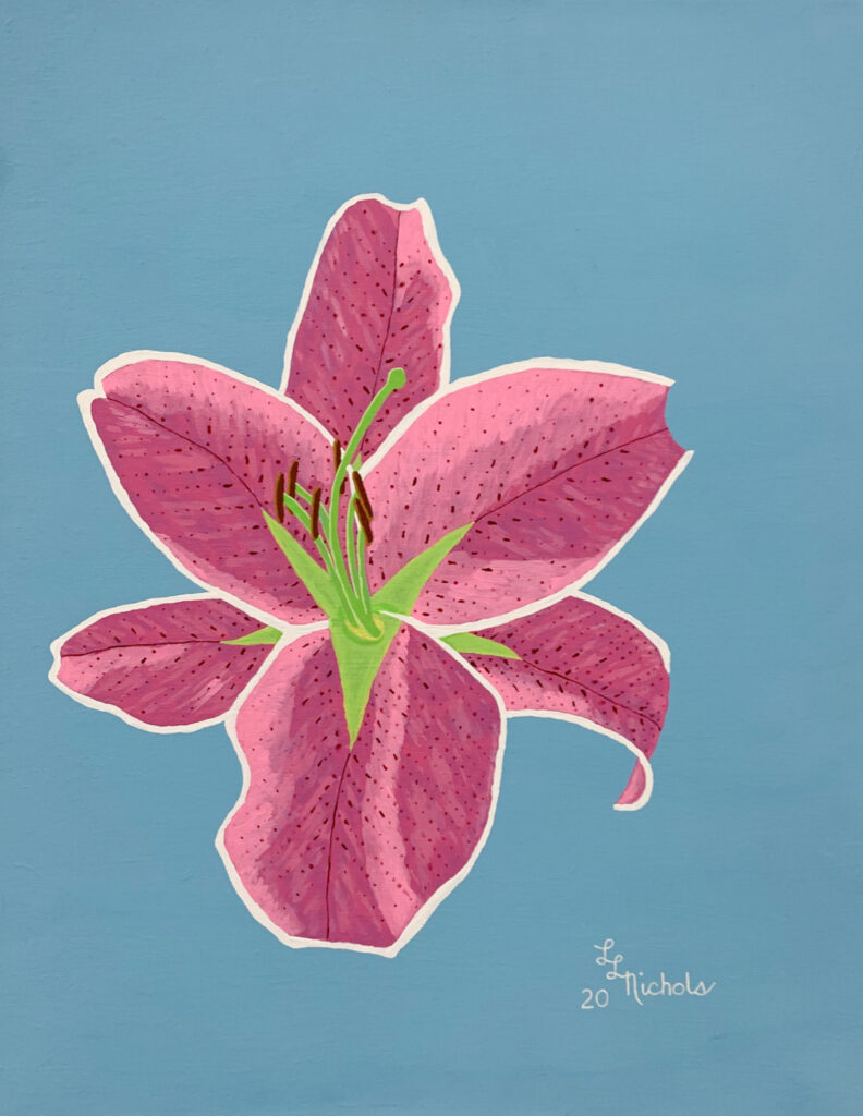 "<p align=""left""><strong><em>Oriental Lily</em></strong></br>28 x 22""</br>Acrylic</br>$275</br><strong><a href=""https://checkout.square.site/buy/JPTU26H234LCPAG3T3L7WI2K"">PURCHASE</a></strong></br>"