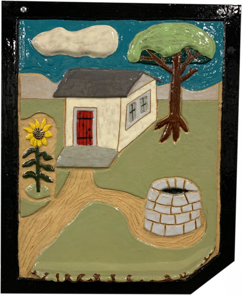 "<p align=""left""><strong><em>Sunflower House</em></strong></br>15.5 x 12.75""</br>Ceramic</br>$100</br><strong><a href=""https://checkout.square.site/buy/XKVOECJBYQ2A4BHTMCB6ESSB"">PURCHASE</a></strong></br>"