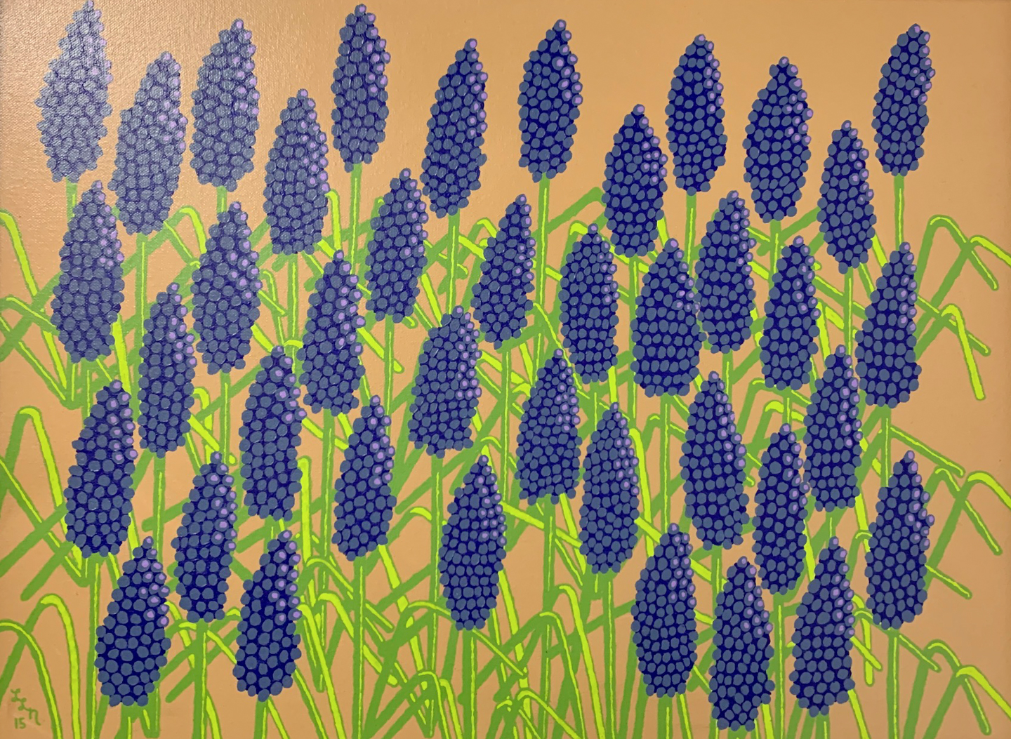 "<p align=""left""><strong><em>Grape Hyacinth</em></strong></br>18 x 24""</br>Acrylic</br><strong>SOLD</strong></br>"