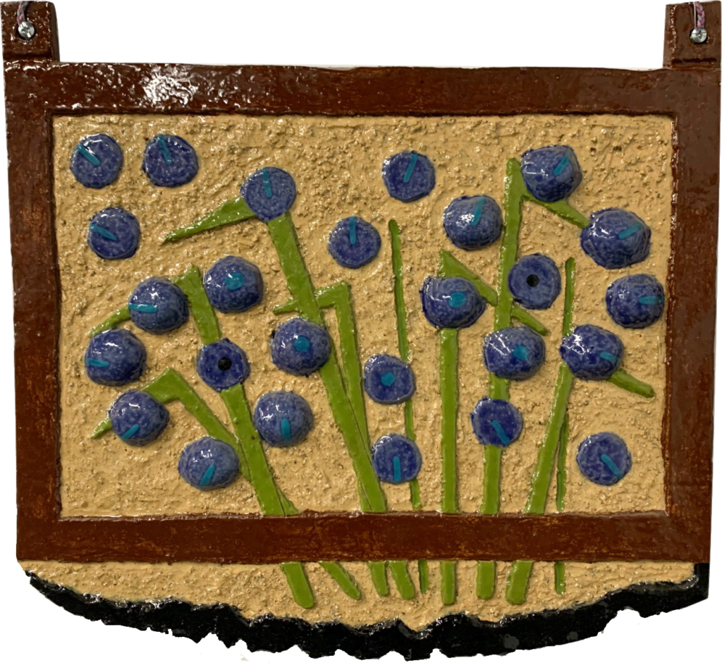 "<p align=""left""><strong><em>Exploding Grape Hyacinth</em></strong></br>13.5 x 14.5""</br>Ceramic</br>$100</br><strong><a href=""https://checkout.square.site/buy/XJIVUULJVRN6ADDZLOI3PCTG"">PURCHASE</a></strong></br>"