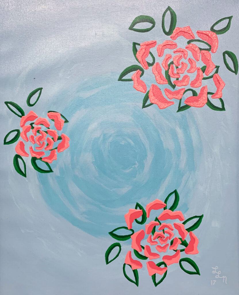 "<p align=""left""><strong><em>Pink Roses</em></strong></br>24 x 20""</br>Acrylic</br>$275</br><strong><a href=""https://checkout.square.site/buy/VGFM2A3B755DAWDEOJN4P56V"">PURCHASE</a></strong></br>"
