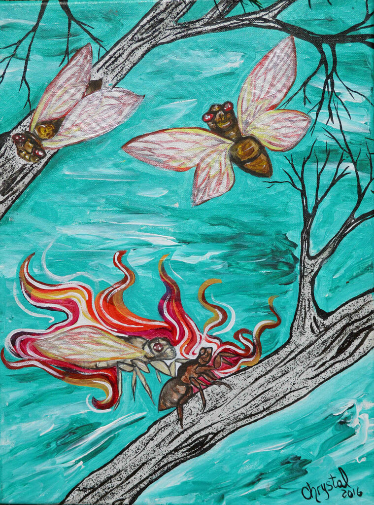"""<p align=""""left""""><strong><em>Red Medicinal Cicada</em></strong></br>10 x 8""""</br>Digital print</br>$35</br><strong><a href=""""https://checkout.square.site/merchant/NQX1GCJY9CN1F/checkout/TLEOWZJ5UMGLXWGFJHTW2AT3"""">PURCHASE</a></strong></br>"""
