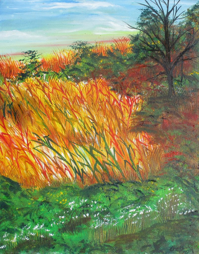 """<p align=""""left""""><strong><em>Blood on the Corn –The Hangman's Cornfield Series</em></strong></br>20 x 16""""</br>Oil on canvas</br>$120</br><strong><a href=""""https://checkout.square.site/merchant/NQX1GCJY9CN1F/checkout/5H27HCFTUZWDHHHUMU5SQOLB"""">PURCHASE</a></strong></br>"""