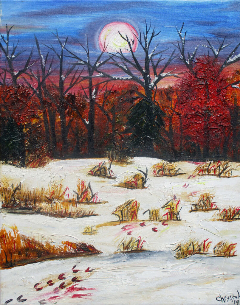 """<p align=""""left""""><strong><em>Blood on the Snow – The Hangman's Cornfield Series</em></strong></br>20. 16""""</br>Oil on canvas</br>$150</br><strong><a href=""""https://checkout.square.site/merchant/NQX1GCJY9CN1F/checkout/VO4XKHPOKO6OMD3GF7F7MR7T"""">PURCHASE</a></strong></br>"""