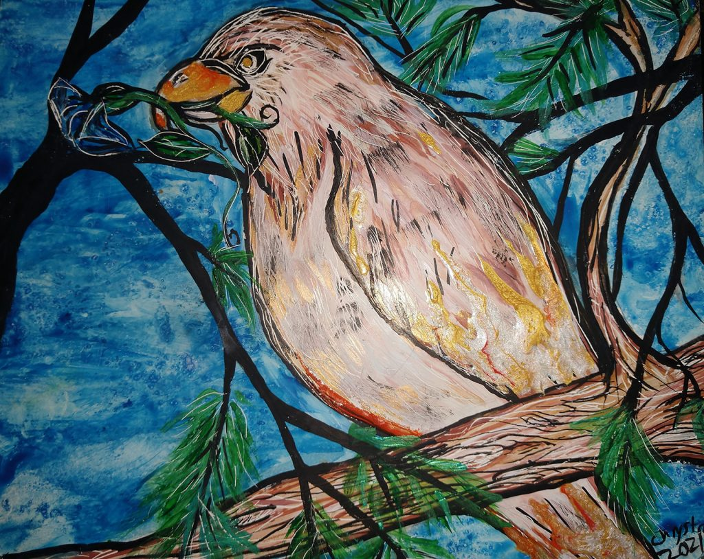 """<p align=""""left""""><strong><em>Golden Hawk of the Morning</em></strong></br>8 x 10""""</br>Mixed media on clayboard</br>$80</br><strong><a href=""""https://checkout.square.site/merchant/NQX1GCJY9CN1F/checkout/TEJE7X2UTBITZQLDX3IPKXMN"""">PURCHASE</a></strong></br>"""