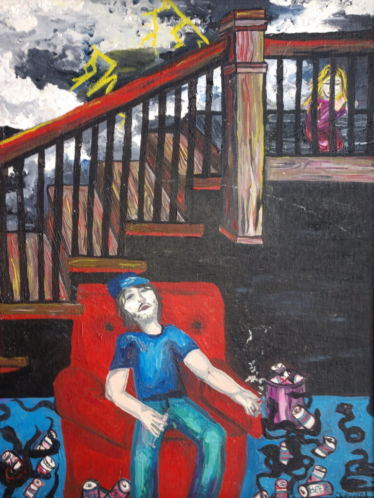 """<p align=""""left""""><strong><em>Catherine Renee, Can You Take His Demons Away?</em></strong></br>20 x 16""""</br>Oil on canvas panel</br>NFS"""