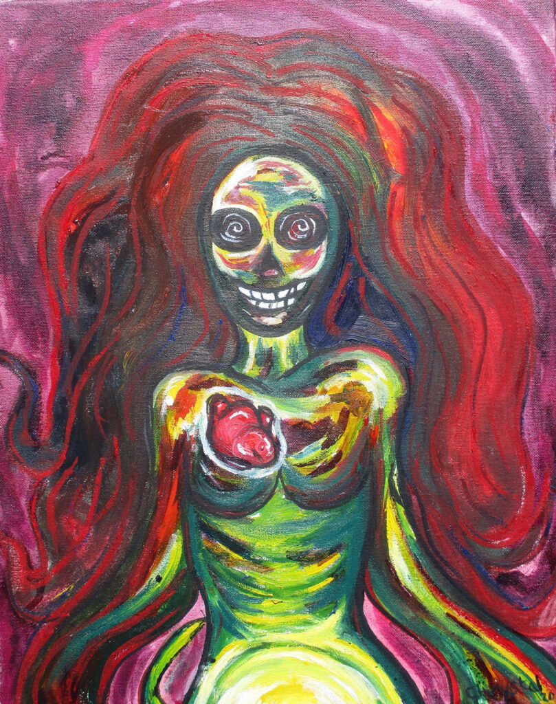 """<p align=""""left""""><strong><em>Insanity AKA Deathwish – Expressive Woman Series</em></strong></br>20 x 16""""</br>Mixed media on canvas</br>$110</br><strong><a href=""""https://checkout.square.site/merchant/NQX1GCJY9CN1F/checkout/CVU43UYHCEM7K3PZFLZB55AE"""">PURCHASE</a></strong></br>"""