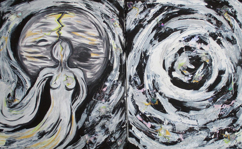 """<p align=""""left""""><strong><em>Jupiter Rising (diptych)</em></strong></br>20 x 32""""</br>Mixed media on canvas</br>$320</br><strong><a href=""""https://checkout.square.site/merchant/NQX1GCJY9CN1F/checkout/D72DKB4OQDV2XXHZ62EZZYS3"""">PURCHASE</a></strong></br>"""