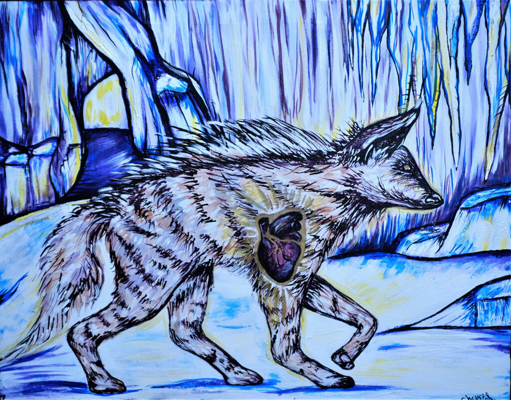 """<p align=""""left""""><strong><em>Heart of the Ohio Hyena</em></strong></br>Mixed Media on Canvas</br>$325</br><strong><a href=""""https://checkout.square.site/merchant/NQX1GCJY9CN1F/checkout/BWRZ7RXHCGHNN6YS24LSFNVO"""">PURCHASE</a></strong></br>"""