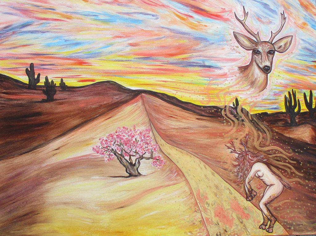 """<p align=""""left""""><strong><em>Deer Woman – Shapeshifter Series</em></strong></br>30 x 40""""</br>Acrylic mixed media on canvas</br>$575</br><strong><a href=""""https://checkout.square.site/merchant/NQX1GCJY9CN1F/checkout/UE7BGRX6XCLAAQMGUYKFJ3JI"""">PURCHASE</a></strong>"""