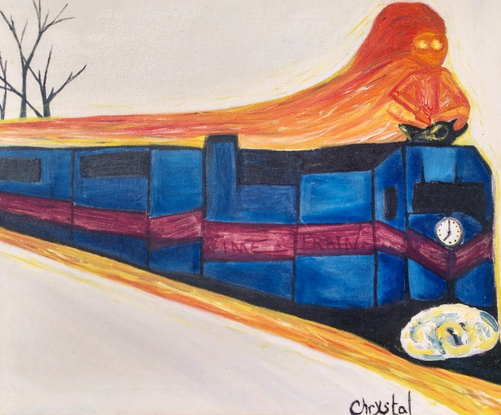 """<p align=""""left""""><strong><em>Racing the Train against Time</em></strong></br>16 x 20""""</br>Oil on canvas</br>NFS"""
