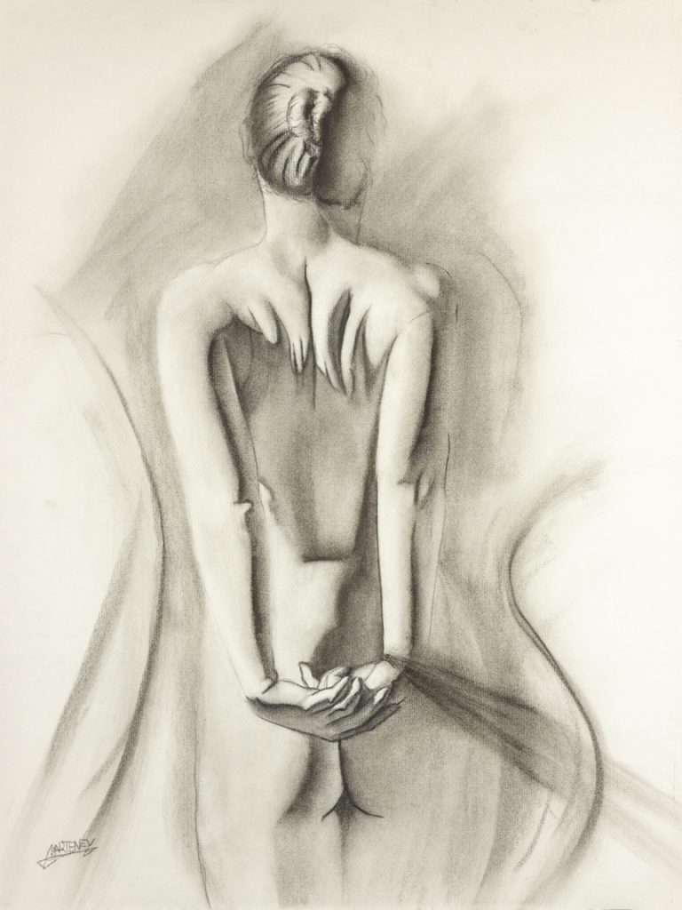 """<p align=""""left""""><strong><em>Ashamed</em></strong></br>24 x 18""""</br>Charcoal and pastel on charcoal paper</br>$300</br><strong><a href=""""https://checkout.square.site/buy/MDQPSJPVMXTY7OZB4YVLDFDP"""">PURCHASE</a></strong>"""