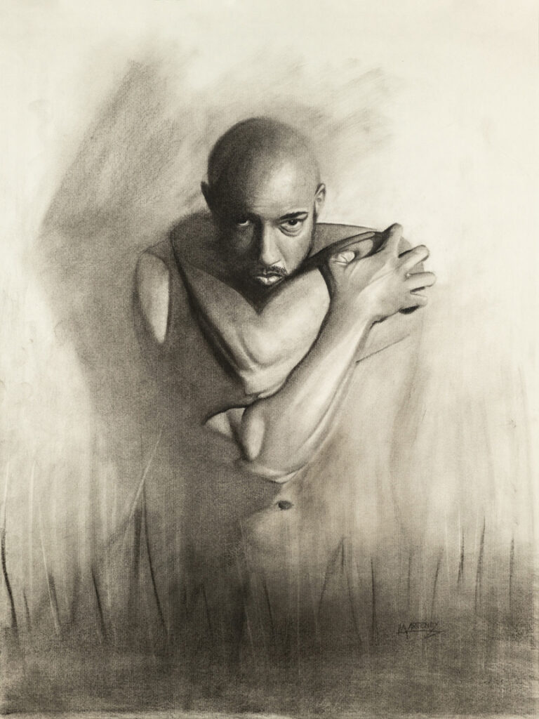 """<p align=""""left""""><strong><em>Determined</em></strong></br>24 x 18""""</br>Charcoal and pastel on charcoal paper</br>$300</br><strong><a href=""""https://checkout.square.site/buy/MDQPSJPVMXTY7OZB4YVLDFDP"""">PURCHASE</a></strong>"""