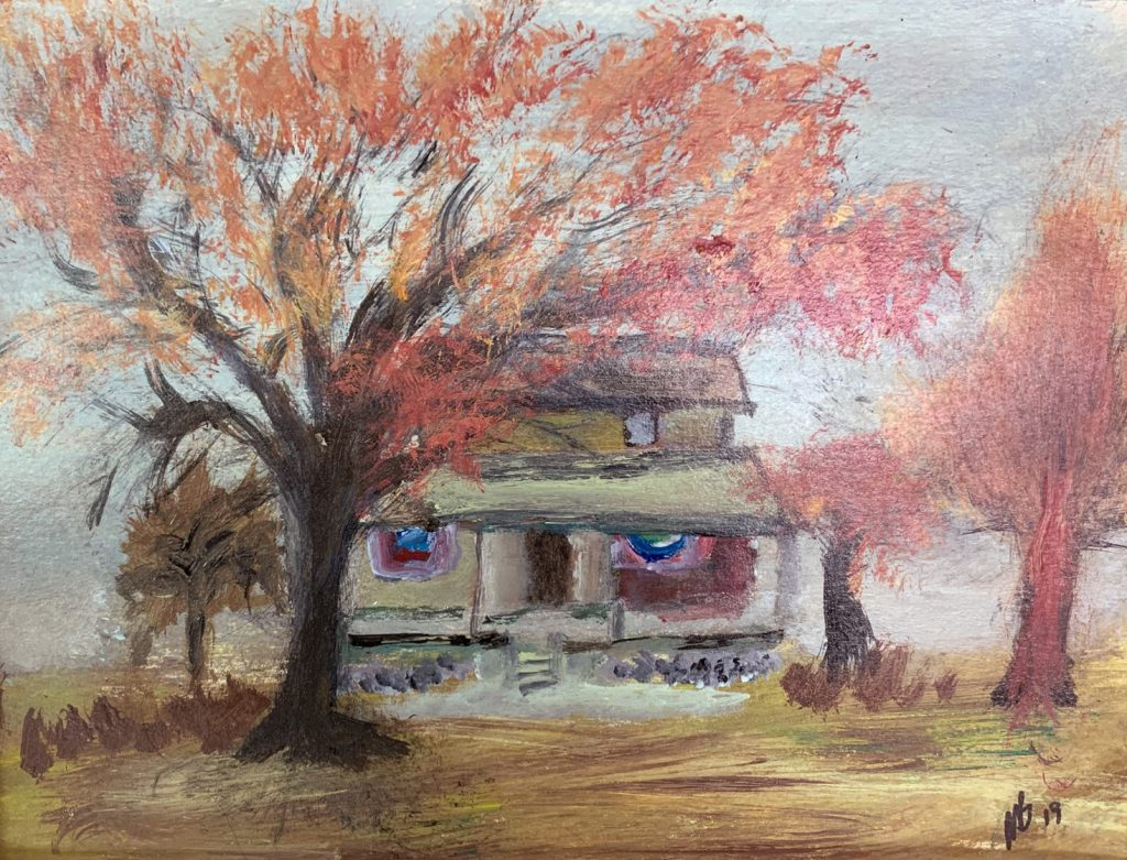"""<p align=""""left""""><strong><em>Autumn House</em></strong></br>11 x 14""""</br>Acrylic on paper</br>$100</br><strong><a href=""""https://checkout.square.site/merchant/NQX1GCJY9CN1F/checkout/AKBTC6YSAEIRDB3YFYIRGRHV"""">PURCHASE</a></strong></p>"""
