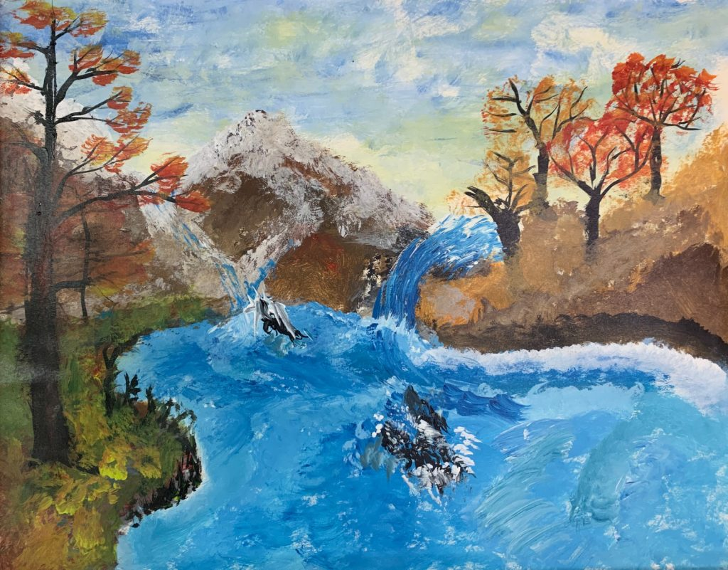 """<p align=""""left""""><strong><em>Autumn River</em></strong></br>22 x 28""""</br>Acrylic on paper</br>$150</br><strong><a href=""""https://checkout.square.site/merchant/NQX1GCJY9CN1F/checkout/IXJV5IO2ZTYRJWK3IAFRTIWV"""">PURCHASE</a></strong></p>"""