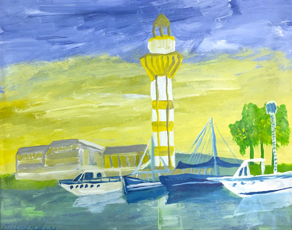 """<p align=""""left""""><strong><em>Harbor</em></strong></br>22 x 28""""</br>Acrylic on paper</br>$150</br><strong><a href=""""https://checkout.square.site/merchant/NQX1GCJY9CN1F/checkout/7ECD4PAMF7OYH65DXP7QQUEB"""">PURCHASE</a></strong></p>"""