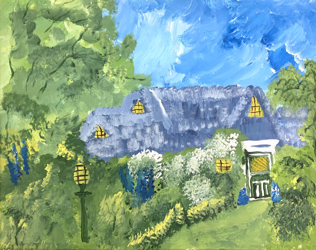 """<p align=""""left""""><strong><em>Country Cottage</em></strong></br>22 x 28""""</br>Acrylic on paper</br>$150</br><strong><a href=""""https://checkout.square.site/merchant/NQX1GCJY9CN1F/checkout/T3ZMR5OHGJT2QP4RH7E23URH"""">PURCHASE</a></strong></p>"""